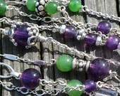 Sterling Silver Amethyst and Jade Neclace