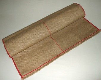 Rustic Jute Rug with red cotton crochet border- Jute Table Runner-jute table cloth