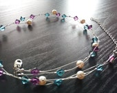 SALE Swarovski Blue, Purple and Pearl Braided Necklace