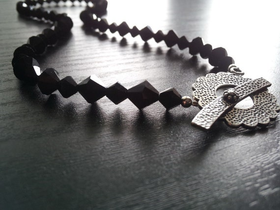 SALE Black Swarovski Beaded Necklace with Sterling Silver Toggle