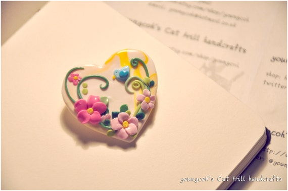 Handmade Polymer Clay White Heart Cherry Flower and Bird Brooch Vintage style