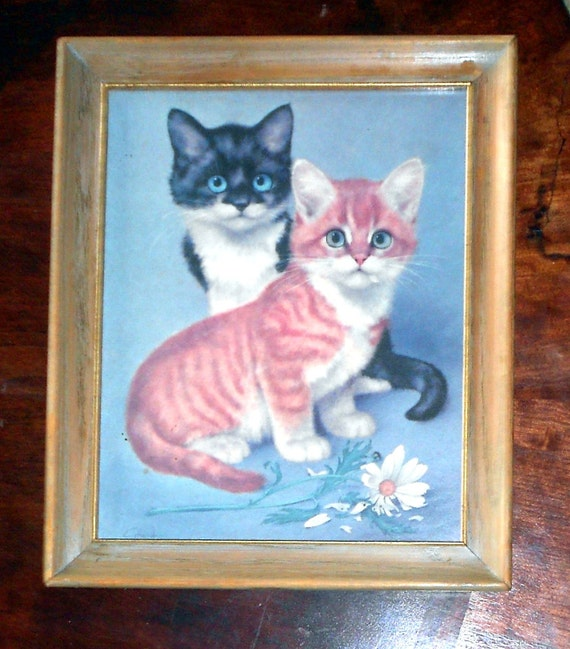 "Vintage Print of Blue Eyed Tuxedo Kitten and Orange Tabby Kitten     ""This Item Is On Hold"""