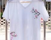 Hand paint t-shirt v-neck