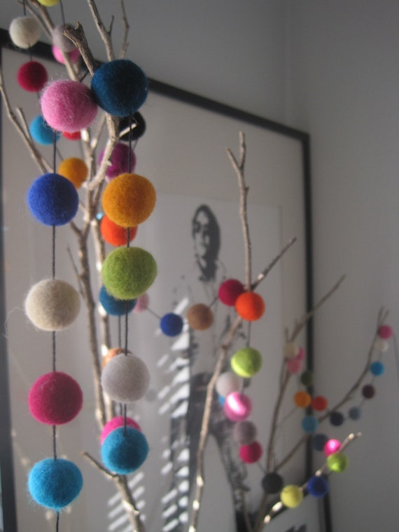 Felt Ball Party Garland - 60 felt balls, 4 metres
