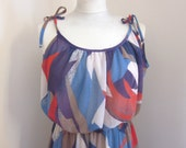 1970s Dress / Vintage Maxi Dress / Strapless Gown Abstract Colorful Pattern