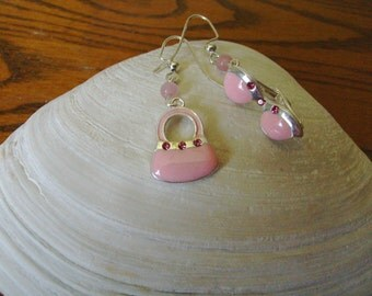 Pink Sunglasses and Purse Earrings
