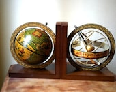 Old  world wood and metal globe astrology sphere book ends bookends book holder