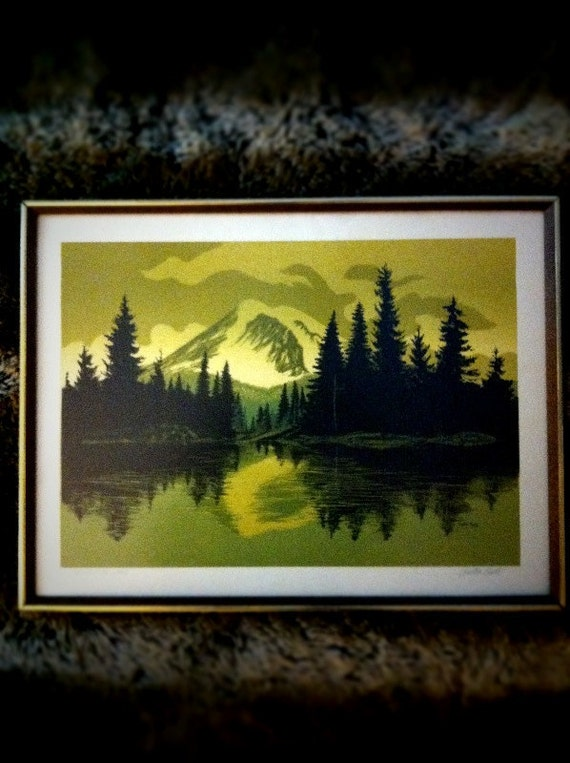 Walton Butts Framed Signed Print Northwest Mountain Lake