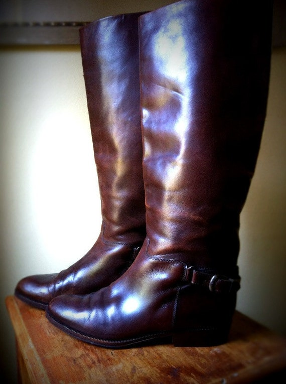 Women's Bally brown leather riding boots size 7 1/2 or EUR 38 made in Switzerland new soloeFor Sale Sold