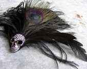Halloween Headpiece,  Black Feather Headdress Fascinator Skull - ROXY headpiece, Mad Max Steampunk clip hair accessory, festival wear
