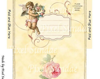 DIY Cherub Card, Gift Tags and Envelope-INSTANT Digital Download