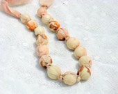 Beige Fabric Necklace, Fabric Bead Necklace,