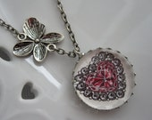 Sale 15% Off, Heart Pendant, Ruby, Black Diamond, Precious Stone, Butterfly Charm, Floral Motif, Antique Silver, Pendant Necklace