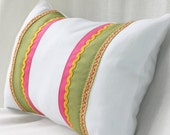 SALE / Green, Pink and Yellow Ribbons on White Cotton Canvas Pillow / Decorative Pillow / Lumbar Pillow and Insert