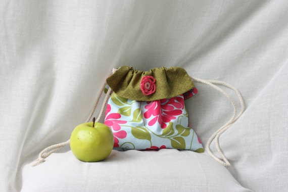 Floral Girls Drawstring Bag with Crotchet Detail. Reversible Girls Purse/ Pouch
