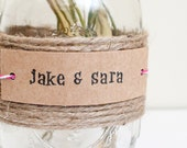 personalized label tags kraft paper favors double punched rectangle set of 12