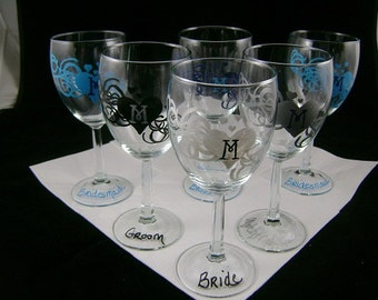 Wedding Party Hand Painted Glasses Set, Personalized