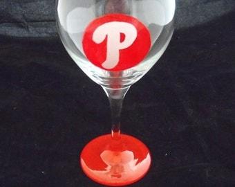 Philadelphia Phillies Wine Glass, Hand Painted, Personalized