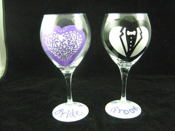 Hand Painted Wedding Glasses, Personalized