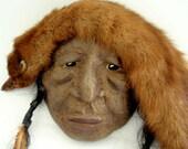 Native American-Tribal-Fox-Man-Paper Mache-Art-Mask