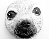 Animal-Art-Arctic-Baby Seal-Paper Mache-Sculptured Handmade-Wall Hanging