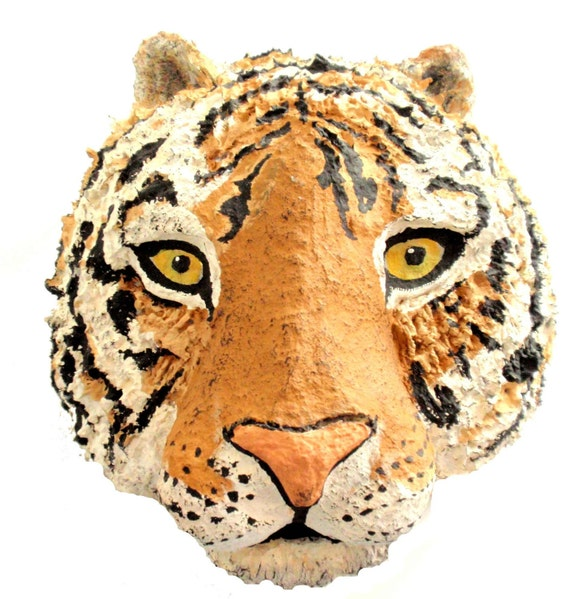 Tiger-Art-Travel-Safari-Animal-Handmade-Paper Mache-Wall Hanging