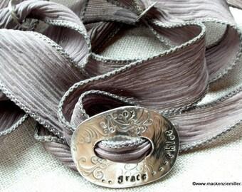 Mother's Bracelet Personalized Silk Wrap Bracelet