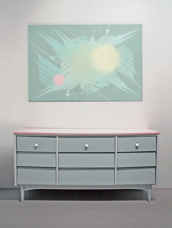 Items Similar To Mid Century Modern Dresser Painted