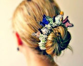 Butterfly Garden - Bun Belt, flower crown for your hair bun, floral crown, hair bun accessories, rustic wedding, butterfly hair clip
