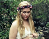Midnight - Romantic Renaissance flower crown in deep purple and blue, faerie, Ren Fair, bohemian wedding