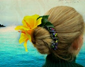 SALE Christmas in July 25% off, Honolulu - Tropical Bun Belt, yellow hibiscus flower for your hair bun