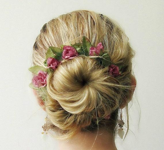 Romantic Bun Belt, Bun Crown, hair bun accessories, flower crown for your hair bun, rustic, pink roses, floral wreath - BRIAR ROSE