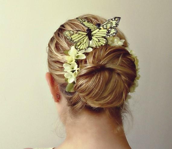 Bun Crown, Butterfly Bun Belt, flower crown for your hair bun, floral crown, rustic wedding accessories, butterfly hair clip - SNOW WHITE