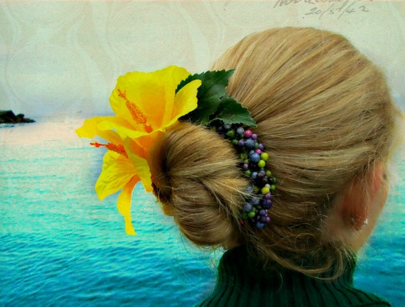 SALE Christmas in July 25% off, Honolulu - Tropical Bun Belt, yellow hibiscus flower for your hair bun