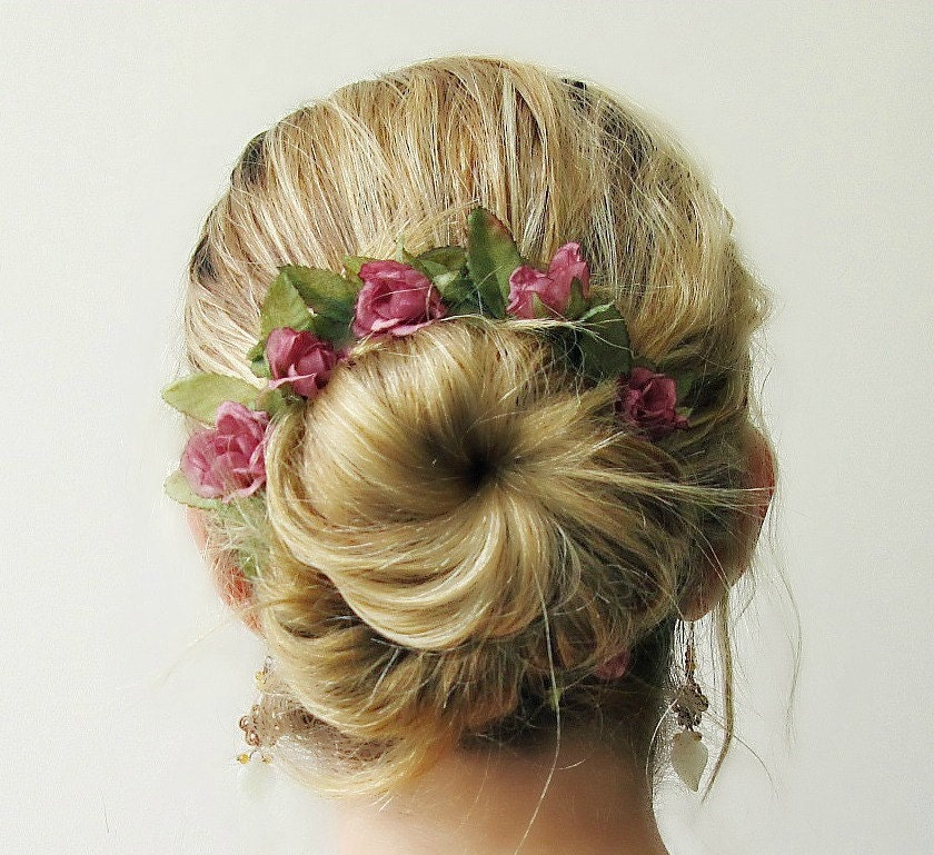 Bridal Hair Accessories For Buns : Romantic bun belt crown hair accessories flower