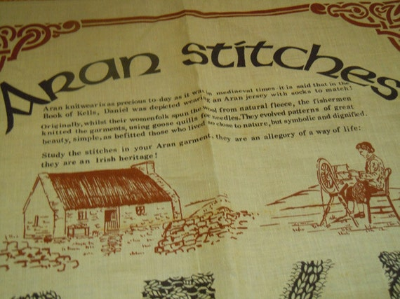 RESERVED for MrsQuimby Vintage IRISH LINEN Tea Towel Aran Stitches