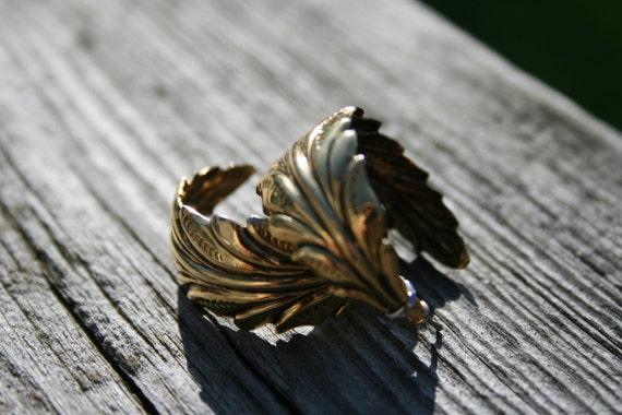 Gold-tone leaf earrings