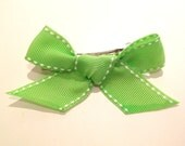 Green Ribbon with White Stitch Toddler Hair Barrette