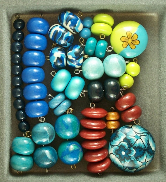 Spring Cleaning - bead lot 2 - 54 polymer clay beads
