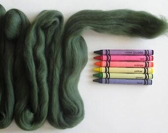 MERINO WOOL ROVING / Natural Green 1 ounce / needle felting / wet felting / spinning / dark green merino wool top / wool basket filler