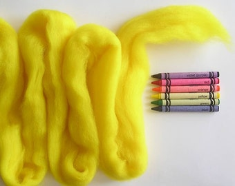 CORRIEDALE WOOL SLIVER - Bright Yellow (approximately 1 oz) - Wool fiber for needle felting , wet felting, or spinning