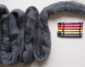 CORRIEDALE WOOL ROVING / Cool Gray 1 ounce / corriedale sliver for animal fur, wet felting, needle felting, spinning, saori, weaving, felt