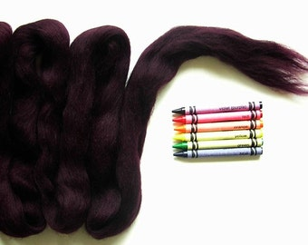 CORRIEDALE WOOL ROVING / Eggplant 1 ounce / corriedale wool for felting, needle felt, wet felting, nuno felting, weaving and tapestry