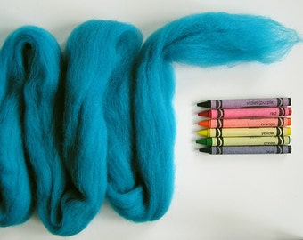 CORRIEDALE WOOL ROVING / Really Turquoise 1 oz / corriedale fiber for needle felting, wet felting, troll hair, doll hair, spinning, weaving