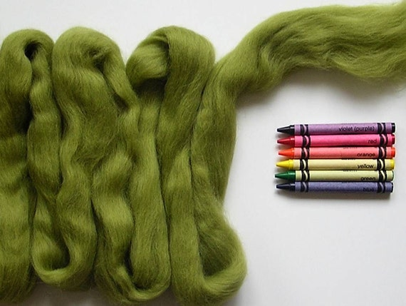 CORRIEDALE WOOL SLIVER - Olive Green (approximately 1 oz) - Wool for needle felting , wet felting , and spinning