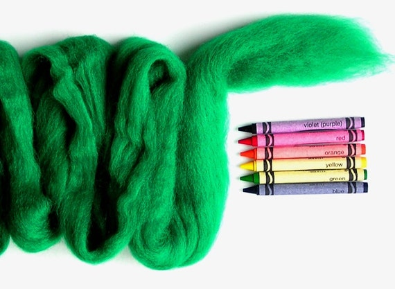 CORRIEDALE WOOL SLIVER - Classic Green (approximately 1 oz) -  needle felting , wet felting , and spinning