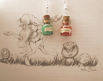 Dreams & Nightmares earrings with glass vial - BFG inspired