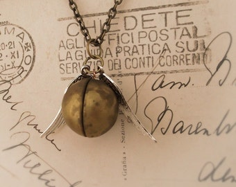 Legendary golden snitch (photo) locket necklace - with vintage locket