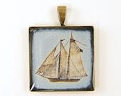 Ship Pendant - Light Blue Cream Sailboat  Nautical Sailing Brass Jewelry Charm