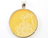 Flower Pendant - ON SALE Yellow White Silver Whimsical Resin Circle Swirl Curl Jewelry